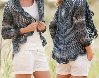 Crochet Evening Tide Women's Sweater Jacket with Circle Design on Back and Variegated Yarn, Custom Order, Handmade