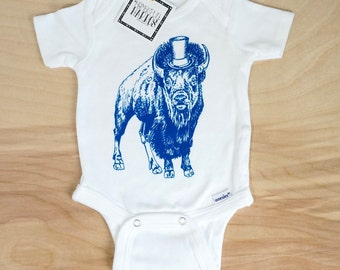 Blue Buffalo with Top Hat Organic Onesie Baby Clothes Screen Print Gift, Size 0-3 Month