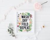 "PRINTABLE Art ""Wash Dry Fold Repeat"" Laundry Art Print Laundry Decor Laundry Room Home Decor Cactus Art Print Cactus Wall art"