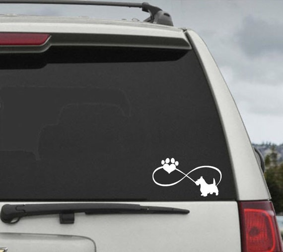 Scottish Terrier Infinity Paw Heart Decal  - Car Window Decal Sticker