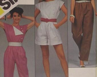 Misses Jumpsuit 3 Lengths Sewing Pattern Simplicity 6276 Size 14 Pleated Waistline Asymmetric Front 1983 80s Uncut Factory Folded Long Short
