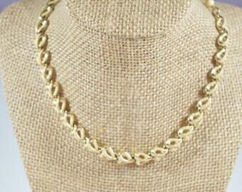 Coro Choker Goldtone Cream Enamel Design Statement Coro Necklace Glamour Statement Coro Jewelry