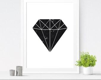Diamond print, Geometric diamond, Printable art, Diamond art, Geometric print, Scandinavian print, Gem print, Digital print, Diamond decor