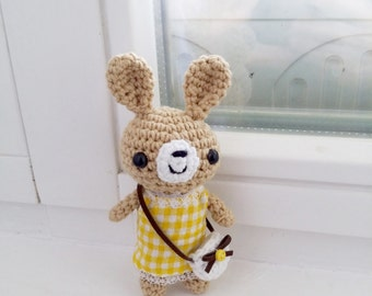 Easter spring bunny, crochet toy, amigurumi rabbit, gift, yellow dress