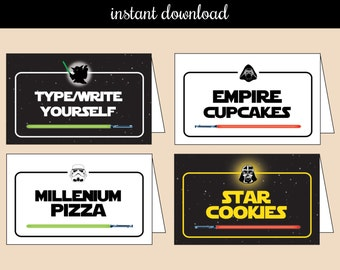 Star Wars EDITABLE Food Tent - instant download