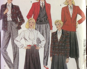 McCalls 2160 - 1980s Wardrobe Collection with Jacket, Blouse, Tie, Skirt and Pants - Size 8 Bust 31.5
