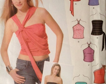 Simplicity 5007 - Jr. Trend Sleeveless Top in Halter, One Shoulder or Strapless Style - Size 11/12 - 15/16