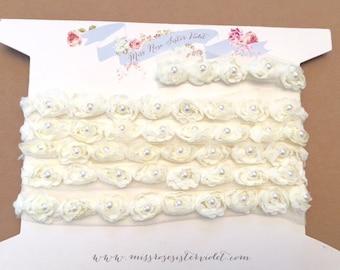cream pearl rosebud trim. pearls and roses ribbon trim. pearl and rosebud embellishing trim. pearl wedding trim.