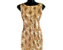Classic Gold Shift Dress, Short Sleeveless Party Dress, Gold Sequin 50s Style Dress, Occasion Dress, Cocktail Party Fashion Dress, M-XL