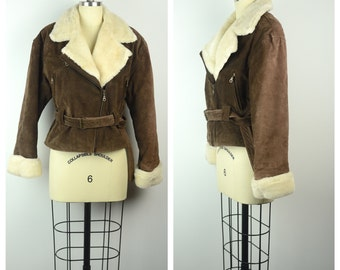 Vintage 1980s Jacket / 80s Brown Suede and Faux Shearling Aviator Jacket / Sm to Med