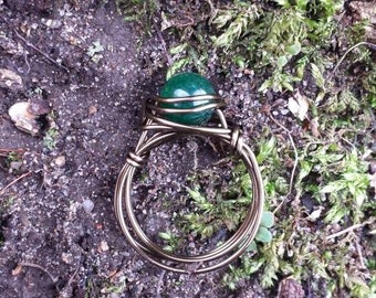 Green Aventurine Wire - Wrapped Ring