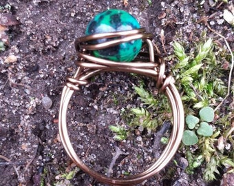 Chrysocolla Wire - Wrapped Ring