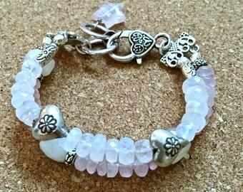 pink links- rose quartz & white moonstone silver bracelet double strand sundance style boho gemstone and thai silver beads