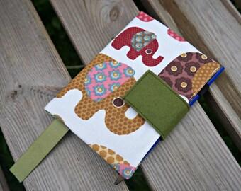 Elephants Journal Cover - Elephant Design A4 or A5 or A6 Notebook Cover -  Elephant Design Handmade Diary Cover