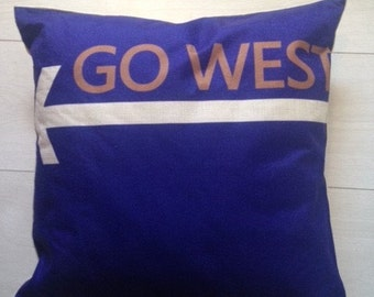 Unusual 80's 'Go West' Cushion Cover