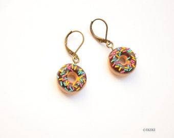Chocolate Donut Earrings, Mini Donut Earrings, Polymer Clay Donut Earrings, Mini Chocolate Donuts, Food Earrings, Donut Jewelry