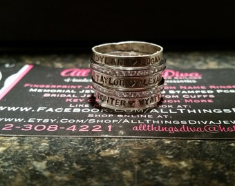 Stacking RINGS-Personalized with MULTIPLE names handstamped with 2 bling spacers (5 total)