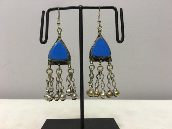 Earrings SilverMiddle Eastern Blue Glass Triangle Dangle Silver Bells  Handmade Silver Earrings Belly Dance Blue Bells Dangle Unique E188