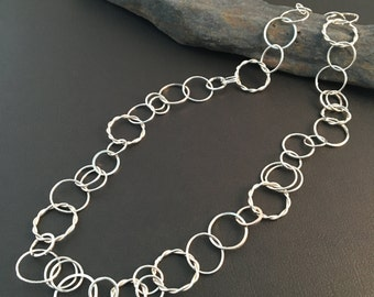 "Sterling silver chain necklace. Hand wrought Chain. Metalsmith. Statement Chain Necklace. ""Varied Link Chain Necklace"""