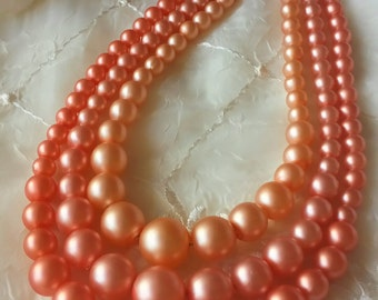 Hong Kong Plastic Necklace Graduated Triple Strand Mid Century 1950s