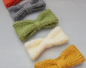 Knitted Hair Bows - Girls Hair Bows - Knit Hair Bows - Girls Bows - Bows for Girls - Hair Accessories