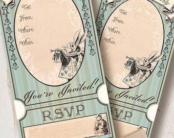 Alice in Wonderland, DIY,printable Invitation Card INSTANT DOWNLOAD,  Digital Collage Sheet