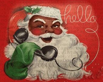 MID CENTURY CHRISTMAS Black Santa Quilt Fabric Block cfbs12.