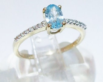 Vintage 9ct 9k Gold Blue Ratnakiri Zircon & Diamond Ring Size 7 - N 1/2