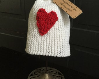 Knit Paper Bag Hat with Heart for Baby, Child, or Toddler