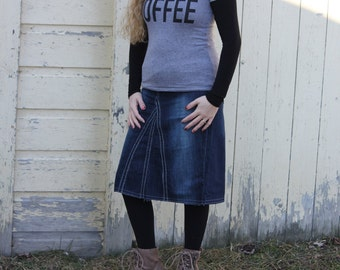 Modest Modern Denim Skirt, Knee Length - Ladies Sizes 1 - 14