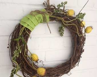 Wreath 15x15 Rustic Grapevine Wreath with Green Ribbon and Twine Bow