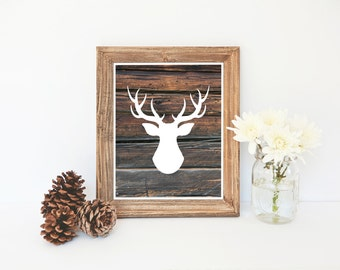 Deer Silhouette Print, Wood Print, Christmas Printable, Reindeer Printable, Wood Art, Deer Antlers, Deer Silhouette, Instant Download