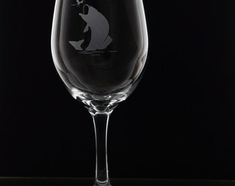 Fish Stemmed Wine Glasses - Etched Fish Wine Glasses - Fish Wine Glasses - Stemmed Glasses - Wedding Gift