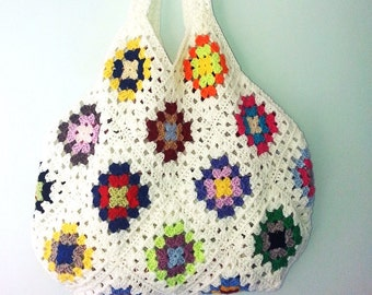Crochet Bag, Crochet Handbag, Granny Square Bag, Crohcet Shoulder Bag, Summer Bag, Gift for Her