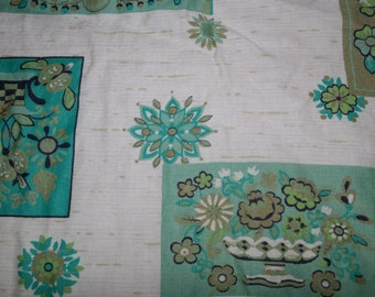 Vintage Printed Rayon Blend  in Turquoise and Blue Print 6 Yards! Dress Weight Fabric with Beautiful Drape