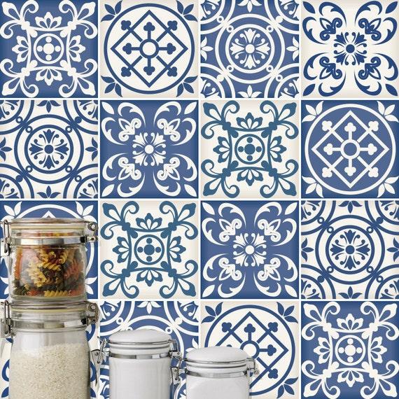 Azulejos Españoles Tradicionales - Pegatinas - Azulejos Adhesivos - Azulejos para Cocina - Baño - Paredes - PAQUETE DE 16 - SKU:SpBlTi