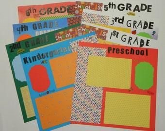 SALE!!Set of 8 Premade Elementary School Pages Layout,12x12 Pages,Back to School Scrapbook pages,Premade Pages.