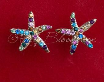 Gold Multicolor Starfish Earrings. Beach Wedding Accessory, Jewelry Bridal Accessory Crystal Star Fish, Destination Wedding, Ruby Blooms