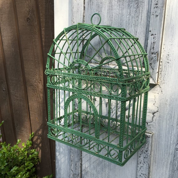 green bird cage arched top wire cage wall hanging garden decor. Black Bedroom Furniture Sets. Home Design Ideas