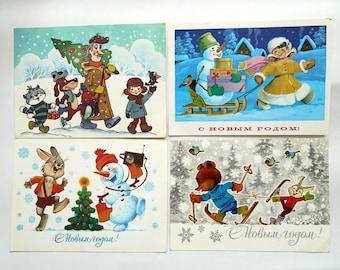 Set 4 Vintage Postcards New Year's, signed