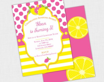 Lemonade Birthday Party Invitation, Lemon Invite, Polka Dots, Stripes, Girls  DIY Printable PDF or JPEG, 5 x 7, Pink, Yellow