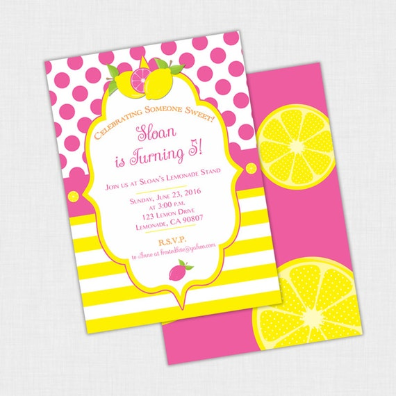 Lemonade birthday party invitation lemon shower invite polka il570xn stopboris Image collections