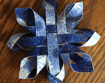 Christmas / Winter Holiday Woven 3-D Twisted Snowflake Ornament