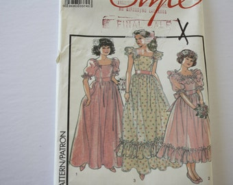 "Girls, Bridesmaids, Junior Bridesmaids Sewing Patterns, Wedding, Party Dress, UNCUT Style #1257, size 10, bust 28.5"""