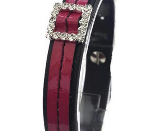 Sale 40% off - Simple Leather Wrist Cuff with coloured stitches with pink patent leather/Gifts for her