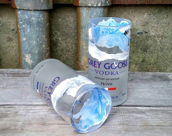Grey Goose Vodka Tall & Slender Glass Tumblers - Created from 750ml Recycled Liquor Bottles