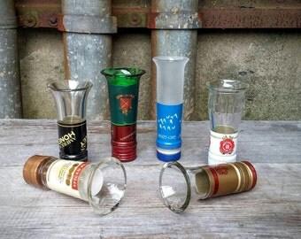 Barware Set of Six Upcycled Liquor Bottle Neck Shot Glasses (Grey Goose, Jameson, Jose Cuervo, Wild Turkey, Jim Beam, Captain Morgan)
