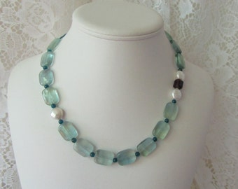 Sea Glass Fluorite Necklace/ECS