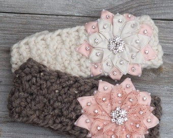 Knit Headband,Peach Flower Knitted Headband, Cozy Ear Warmer, Women's Fall / Winter Accessory,Christmas Gift For Her, Stocking Stuffer