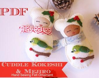 Cuddle Kokeshi & Mejiro Hand Sewing Ornament Pattern PDF